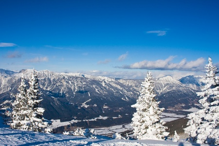 Mountains under snow. Ski resort  Schladming . Austria photo