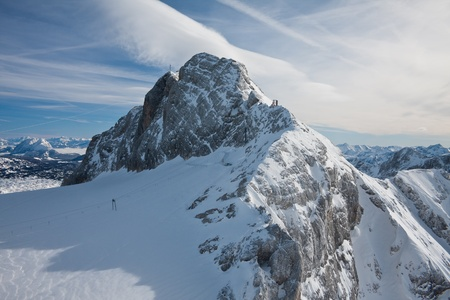 The view from the observation deck on the Dachstein glacier. Austria