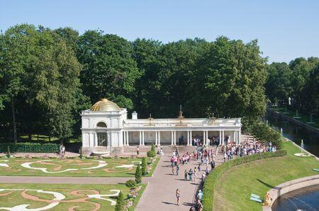 the eighteenth: Peterhof. Lower Park. Channel, and the flower parterre Voronihinskaya Colonnade