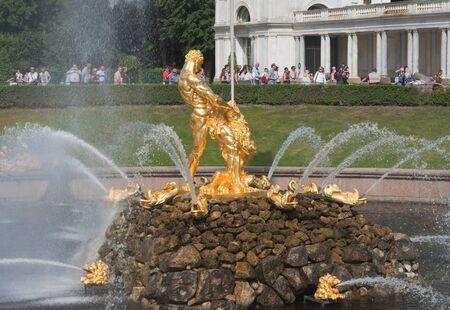 Samson Fountain, Grand cascade in Pertergof, Saint-Petersburg, Russia.