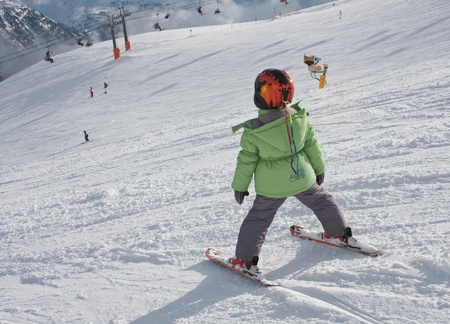 The first steps on skis