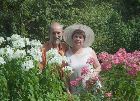 Mature couple in the garden photo