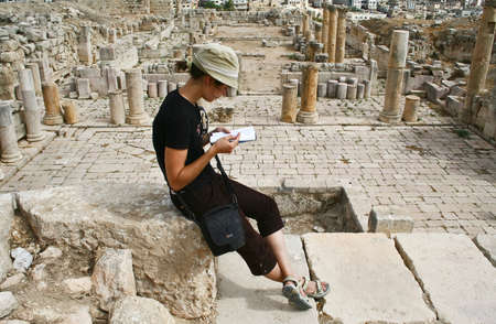 Tourist in ancient Jerash , Jordan