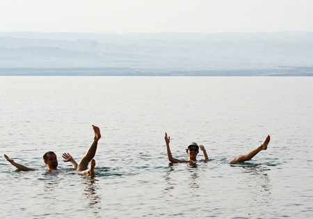 Swimming in the Dead Sea  Jordan