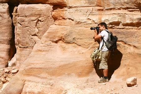Tourist and Nabatean temple Petra, Jordan Stock Photo - 12412361