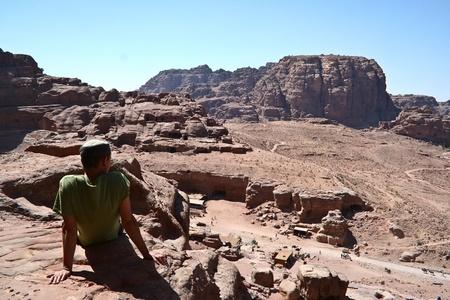 Tourist and Nabatean temple Petra, Jordan Stock Photo - 12412344