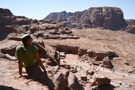Tourist and Nabatean temple Petra, Jordan Stock Photo - 12412342