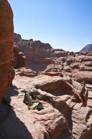 Tourist and Nabatean temple Petra, Jordan photo