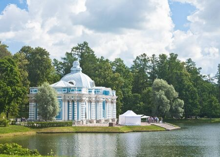 Russia  St -Petersburg  Tsarskoe Selo  Pushkin   Pavilion  Grotto  on coast of the big pond in Catherine Stock Photo - 12927945