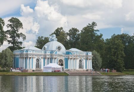 Russia  St -Petersburg  Tsarskoe Selo  Pushkin   Pavilion  Grotto  on coast of the big pond in Catherine Stock Photo - 12927933