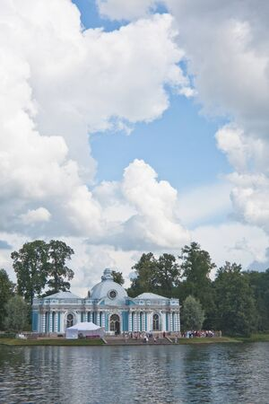 Russia  St -Petersburg  Tsarskoe Selo  Pushkin   Pavilion  Grotto  on coast of the big pond in Catherine Stock Photo - 12927932