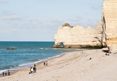 the major tide: The famous cliffs at Etretat in Normandy, France