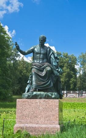 Tsarskoye Selo  Catherine Park  Antique Granite statue in front of a Granite terrace Stock Photo - 13054402