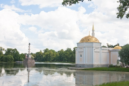 Chesme Column and Pavilion  Turkish bath   Tsarskoye Selo  Pushkin , St  Petersburg, Russia  Stock Photo - 13129089