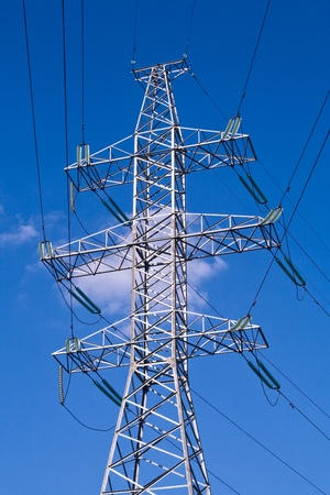 joining forces: Power transmission tower carrying electricity from different parts of country Stock Photo