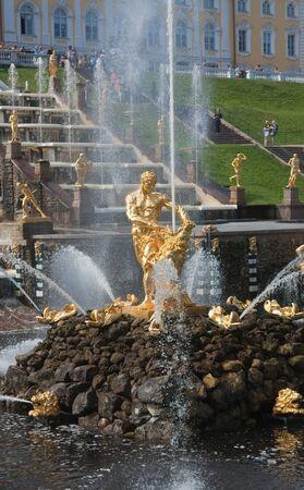 Samson Fountain, Grand cascade in Pertergof, Saint-Petersburg, Russia  photo