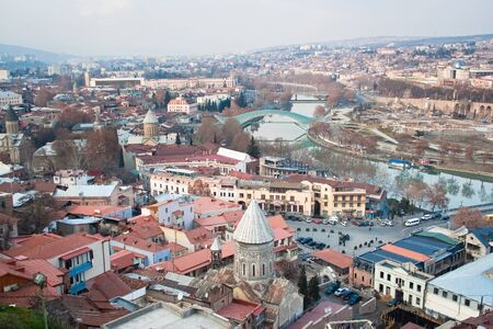 Panoramic view of Tbilisi city with medieval castle of Narikala , Republic of Georgia, Caucasus regionll photo