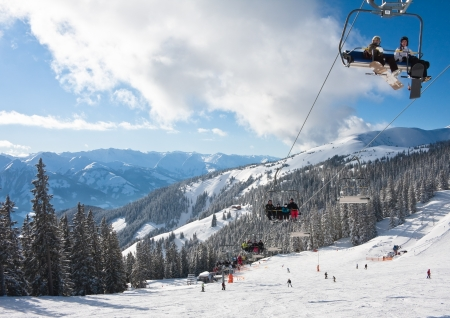 am: Ski resort Zell am See. Austria Stock Photo