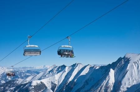 Cabins against of blue sky - Kaprun, Austria Stock Photo