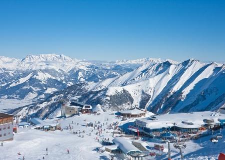 View of skiing area on Kitzsteinhorn glacier   Kaprun, Austrian Alps