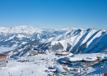 View of skiing area on Kitzsteinhorn glacier   Kaprun, Austrian Alps