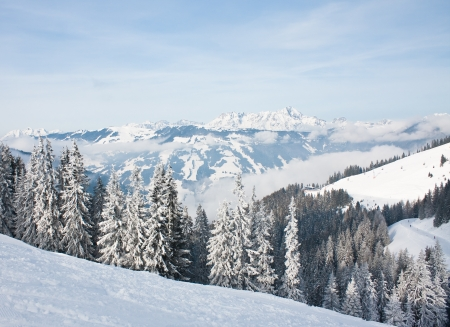 Mountains under snow  Ski resort Zell am See  Austria