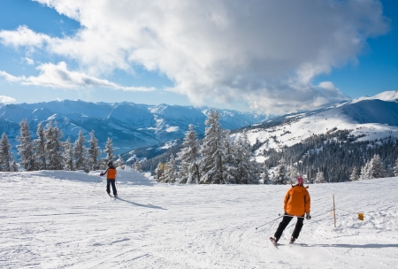 ski track: Ski resort Zell am See, Austrian Alps at winter