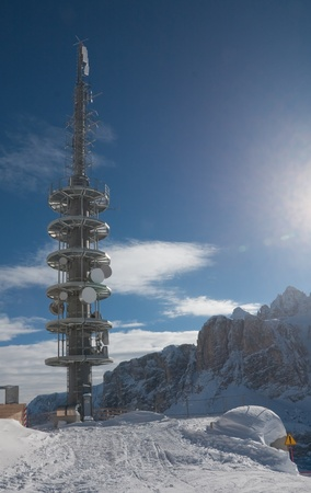 Communication tower with antennas. Selva di Val Gardena, Italy photo