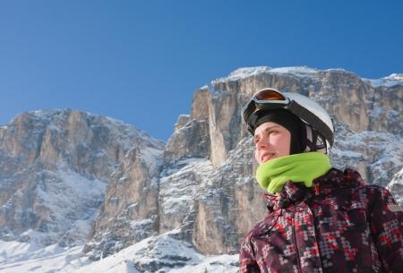 selva: Portrait alpine skier. Ski resort of Selva di Val Gardena, Italy