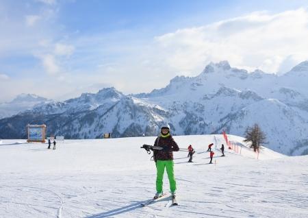 selva: Alpine skier. Ski resort of Selva di Val Gardena, Italy