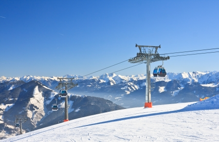 Ski resort Zell am See, Austrian Alps at winter photo