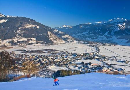 Ski resort Zell am See, village Schuttdorf. Austria. Alps at winter