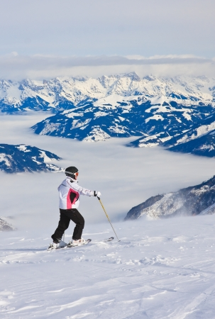 kitzsteinhorn: Ski resort of Kaprun, Woman and Kitzsteinhorn glacier. Austria