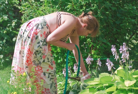 Watering the flowers at the cottage photo
