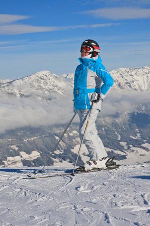 The woman at the view winter mountain. Ski resort Schladming . Austria Stock Photo - 25863288