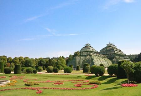 schloss schonbrunn: Palm Pavilion and floral lawn in the park of Schonbrunn, Vienna, Austria