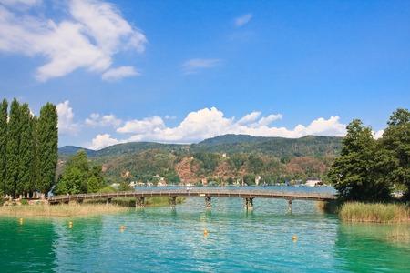 Resort Portschach am Worthersee en Lake Worth (Worthersee). Oostenrijk Stockfoto