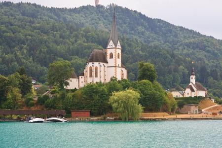 primus: Resort Maria Worth  Church of St  Primus and Felician winter church  Austria Stock Photo