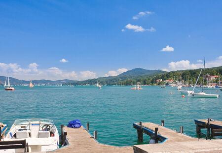 Resort Velden am Worthersee. Oostenrijk Stockfoto