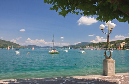 Quay. Resort Velden am Worthersee. Austria Stock Photo