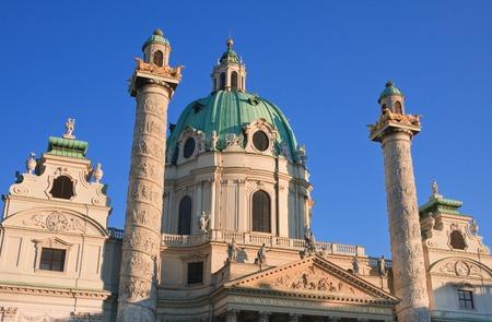 st charles: Karlskirche (St. Charles Church). Vienna, Austria  Stock Photo