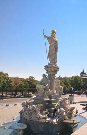 pallas: Sculpture of Pallas Athena in front of the Austrian Parliament. Vienna Austria Stock Photo