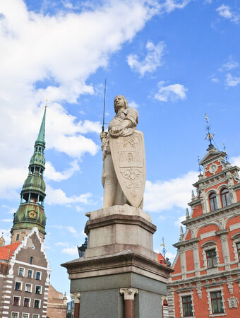 town hall square: Town Hall Square, the statue of Roland, the House of Blackheads, the church of St. Peter. Riga. Latvia