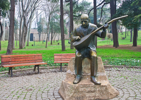 national poet: Gulhane Park. Asik Veysel monument - the national poet of Turkey. Istanbul