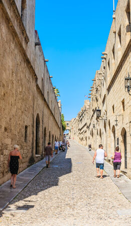 sporades: Street of the Knights in the Old Town, Rhodes Island, Greece Editorial
