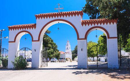 sporades: Gateway to the Monastery of Kato Tsambika. Rhodes Island. Greece Stock Photo