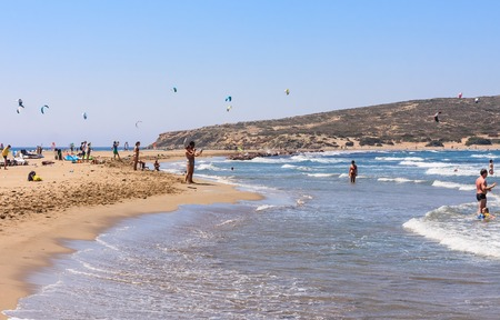 Beach on the isthmus Prasonisi. Rhodes Island. Greece