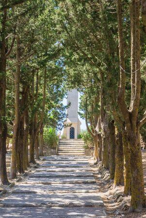 calvary: Alley The Way to Calvary. Mount Filerimos. Rhodes. Greece