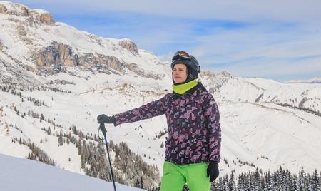 selva: Portrait of a skier. Ski resort of Selva di Val Gardena, Italy