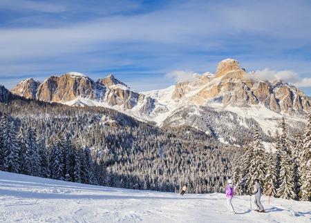 gardena: Skiers at Ski resort of Selva di Val Gardena, Italy